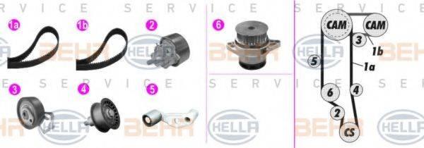 BEHR HELLA SERVICE 8MP376803811 Водяной насос + комплект зубчатого ремня