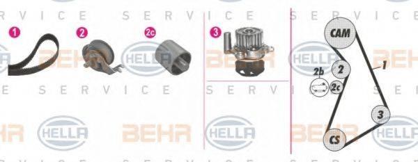 BEHR HELLA SERVICE 8MP376814861 Водяной насос + комплект зубчатого ремня