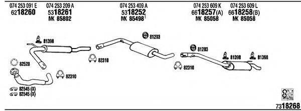 WALKER VW72233 Система выпуска ОГ