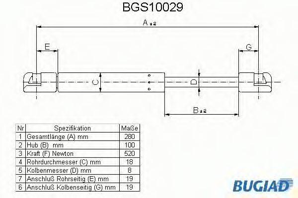 BUGIAD BGS10029 Амортизатор багажника