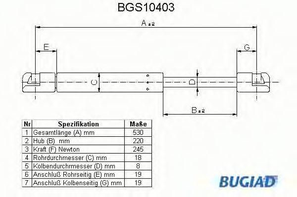 BUGIAD BGS10403 Амортизатор багажника