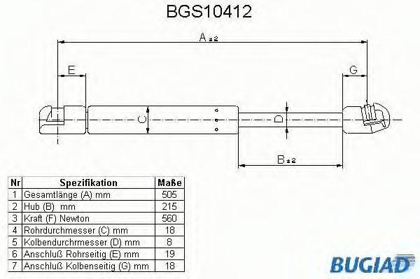 BUGIAD BGS10412 Амортизатор багажника