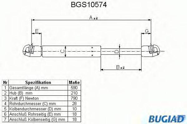 BUGIAD BGS10574 Амортизатор багажника