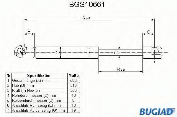 BUGIAD BGS10661 Амортизатор капота