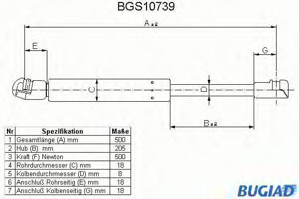 BUGIAD BGS10739 Амортизатор багажника