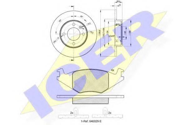 ICER 304613325 Комплект тормозов, дисковый тормозной механизм