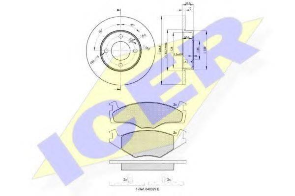 ICER 310483325 Комплект тормозов, дисковый тормозной механизм