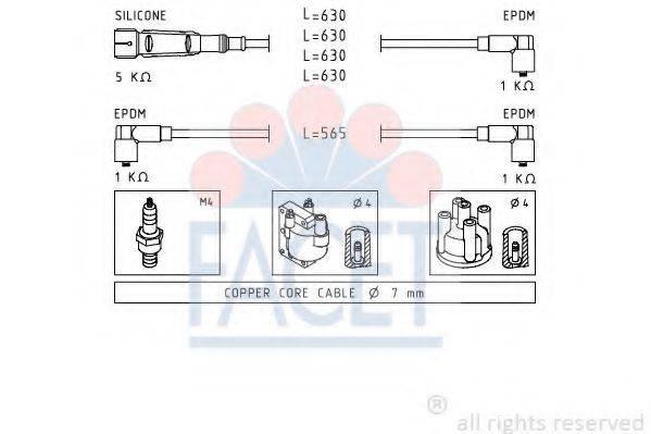 FACET 48493 Комплект проводов зажигания