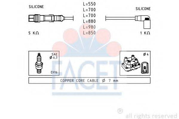 FACET 49605 Комплект проводов зажигания