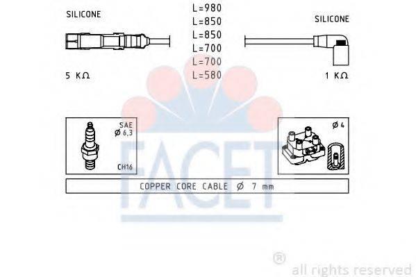 FACET 49590 Комплект проводов зажигания