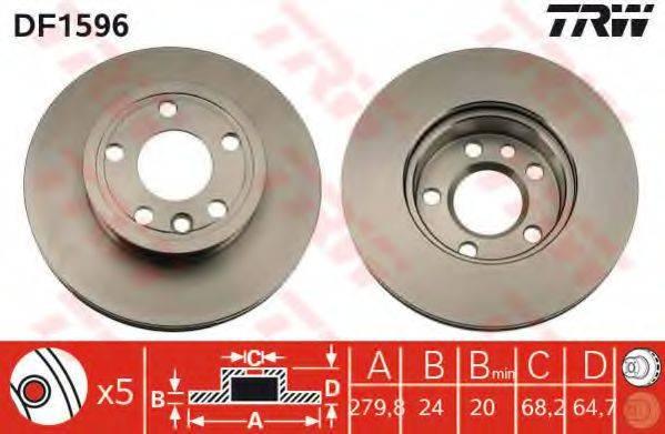 TRW DF1596 Тормозной диск
