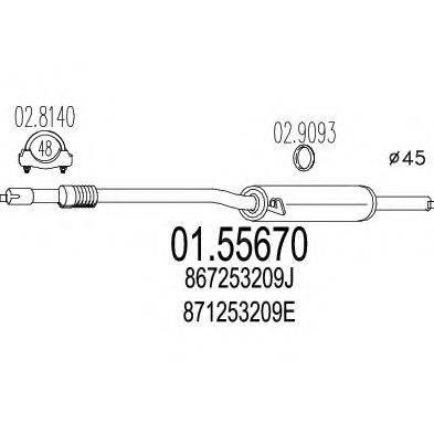 MTS 0155670 Средний глушитель выхлопных газов