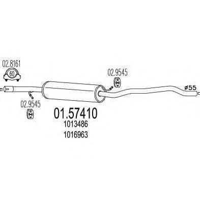 MTS 0157410 Средний глушитель выхлопных газов