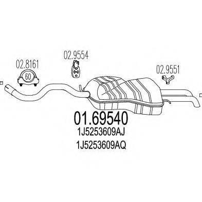 MTS 0169540 Глушитель выхлопных газов конечный