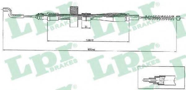 LPR C0971B Трос, стояночная тормозная система