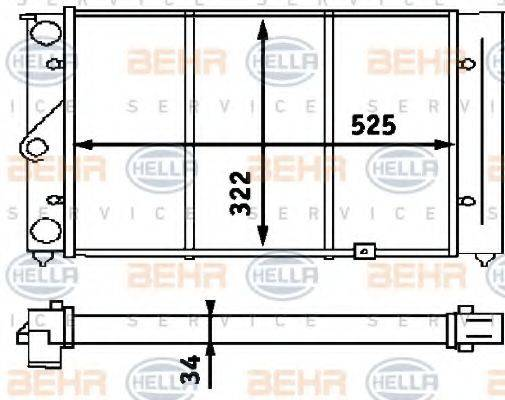 HELLA 8MK376713371 Радиатор охлаждения двигателя