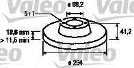 VALEO 186801 Тормозной диск
