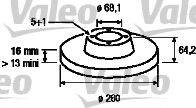 VALEO 186314 Тормозной диск
