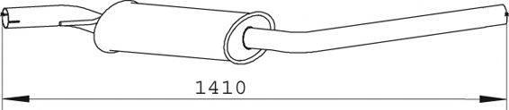 DINEX 74372 Средний глушитель выхлопных газов