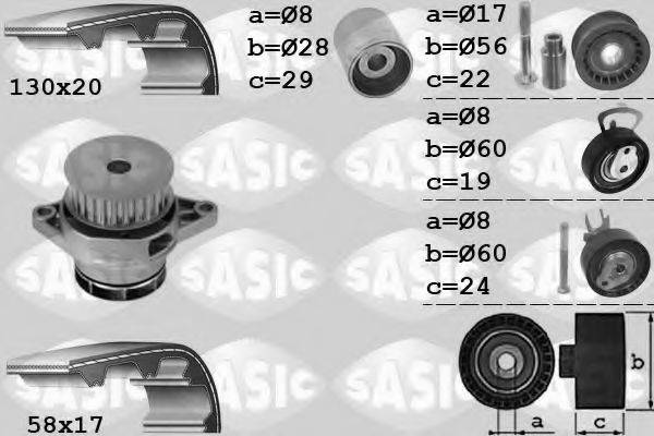 SASIC 3906085 Водяной насос + комплект зубчатого ремня