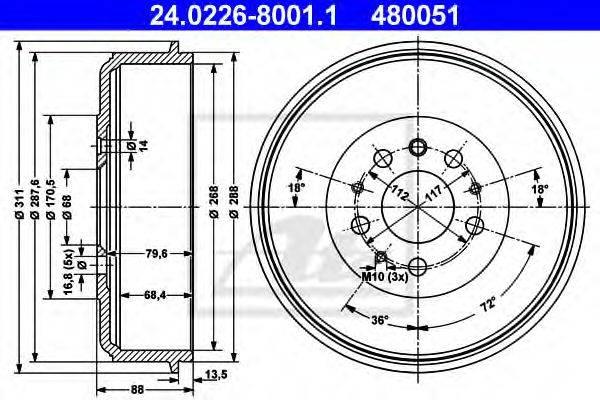 ATE 24022680011 Тормозной барабан