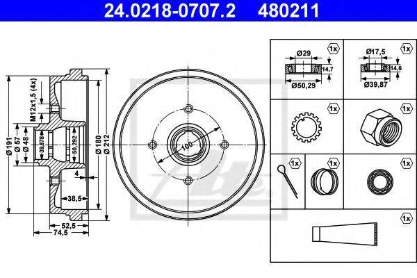 ATE 24021807072 Тормозной барабан