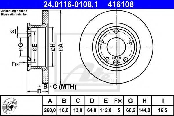 ATE 24011601081 Тормозной диск