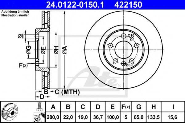 ATE 24012201501 Тормозной диск