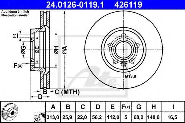ATE 24012601191 Тормозной диск