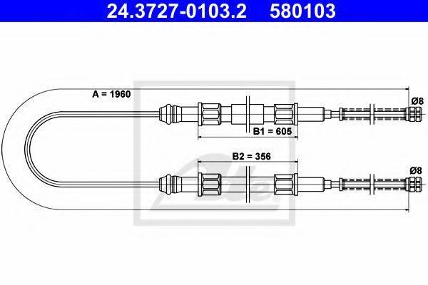 ATE 24372701032 Трос, стояночная тормозная система