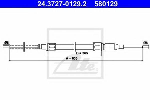 ATE 24372701292 Трос, стояночная тормозная система