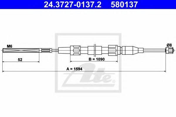 ATE 24372701372 Трос, стояночная тормозная система