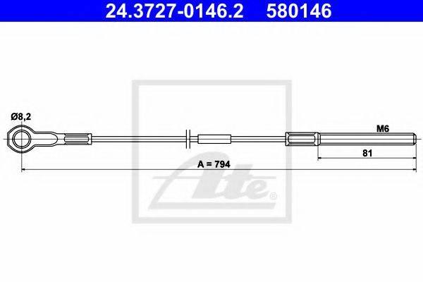 ATE 24372701462 Трос, стояночная тормозная система