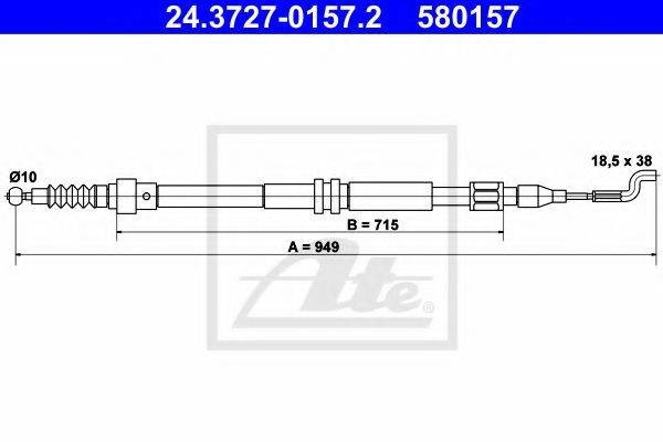 ATE 24372701572 Трос, стояночная тормозная система