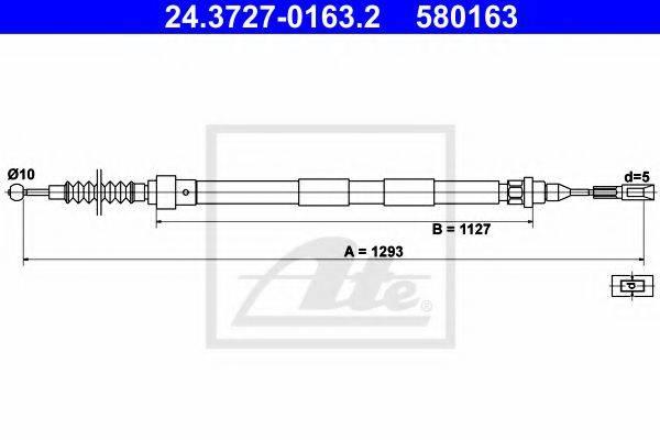 ATE 24372701632 Трос, стояночная тормозная система