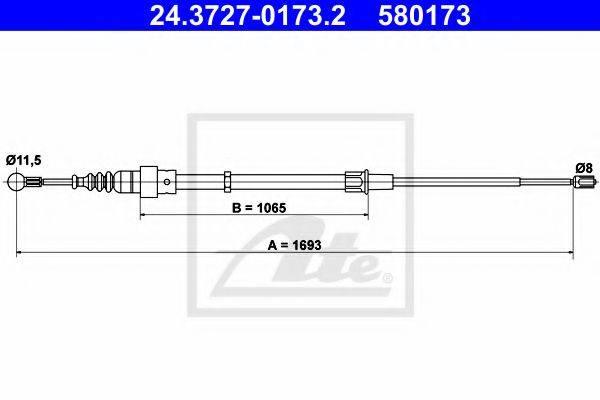 ATE 24372701732 Трос, стояночная тормозная система