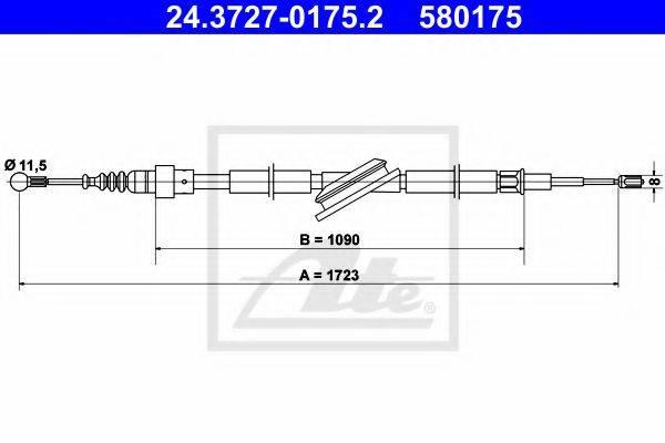 ATE 24372701752 Трос, стояночная тормозная система