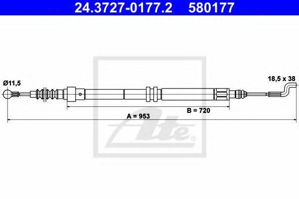 ATE 24372701772 Трос, стояночная тормозная система