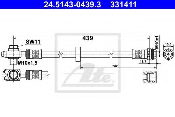 ATE 24514304393 Тормозной шланг