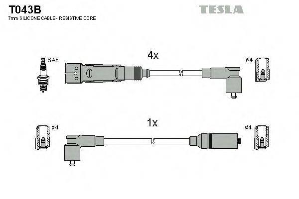 TESLA T043B Комплект проводов зажигания
