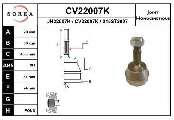 EAI CV22007K ШРУС с пыльником