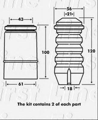 FIRST LINE FPK7077 Комплект пыльника и отбойника амортизатора