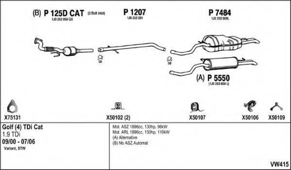 FENNO VW415 Система выпуска ОГ