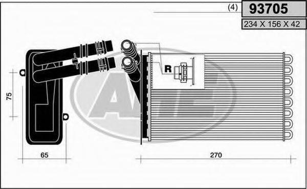 AHE 93705 Радиатор печки