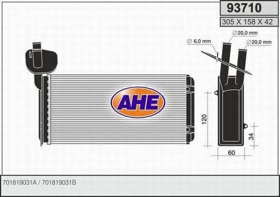 AHE 93710 Радиатор печки