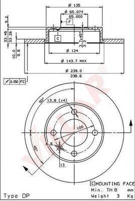 VILLAR 6280151 Тормозной диск