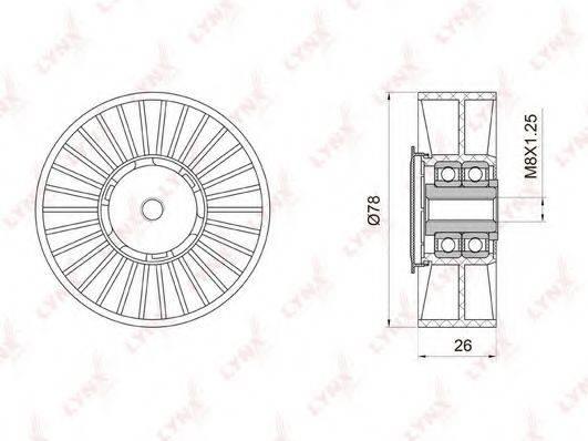 LYNXAUTO PB5035 Натяжной ролик, поликлиновой  ремень