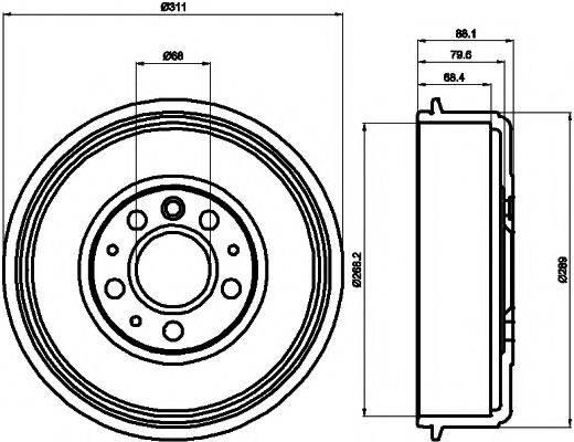 HELLA PAGID 8DT355301721 Тормозной барабан