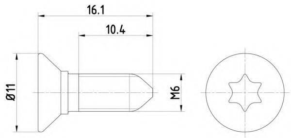 HELLA PAGID 8DZ355209081 Болт, диск тормозного механизма