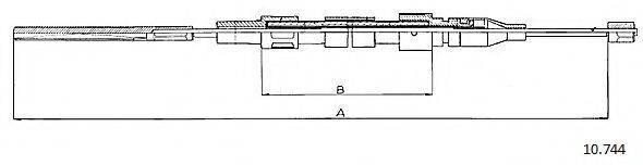 CABOR 10744 Трос, стояночная тормозная система